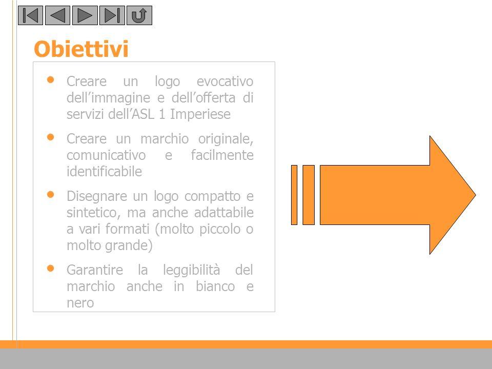 Obiettivi Creare un logo evocativo dell'immagine e dell'offerta di servizi dell'ASL 1 Imperiese.