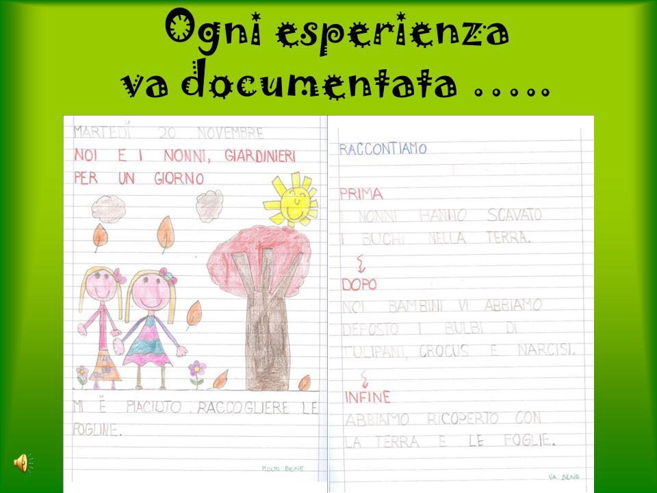 Ogni esperienza va documentata …..