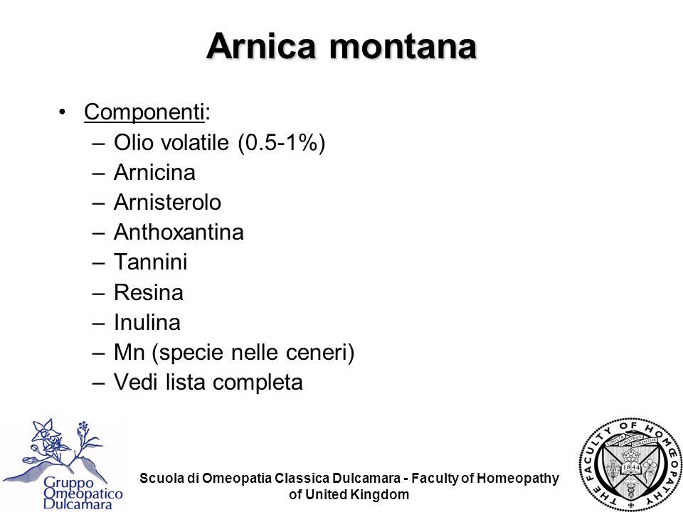 Arnica montana Componenti: Olio volatile (0.5-1%) Arnicina Arnisterolo