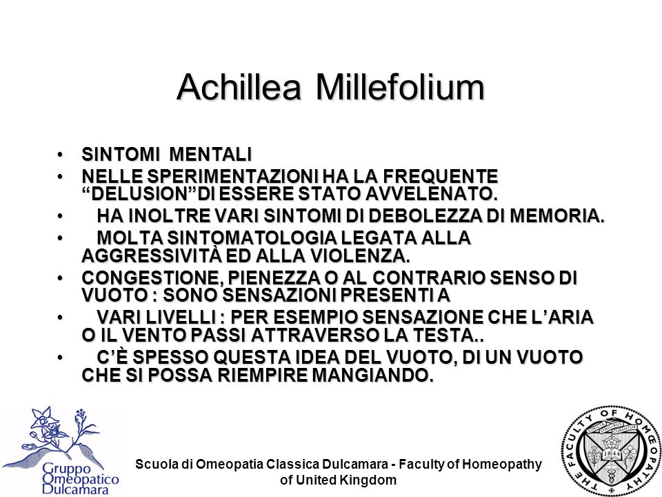 Achillea Millefolium SINTOMI MENTALI