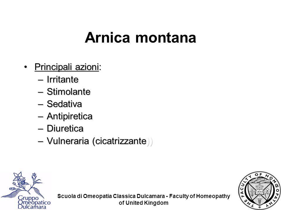 Arnica montana Principali azioni: Irritante Stimolante Sedativa