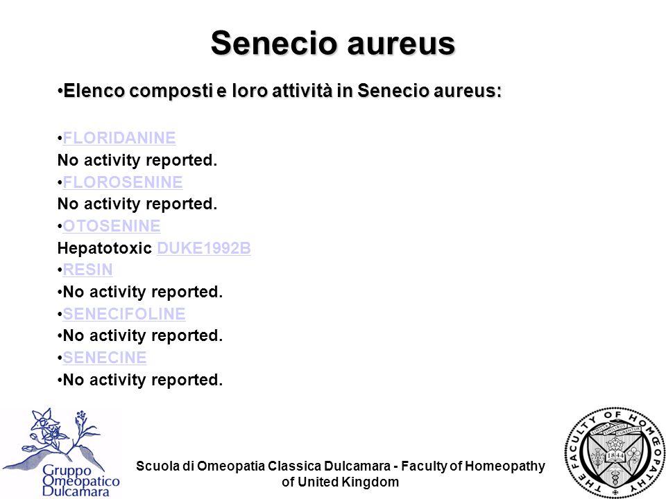 Senecio aureus Elenco composti e loro attività in Senecio aureus:
