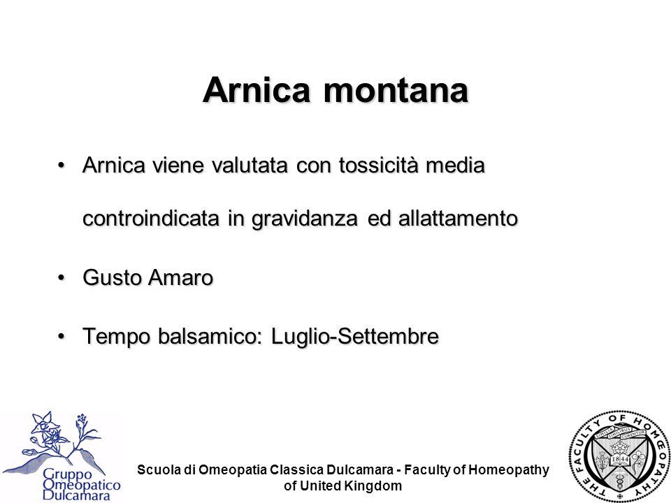 Arnica montana Arnica viene valutata con tossicità media controindicata in gravidanza ed allattamento.