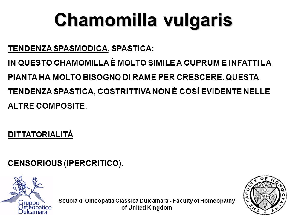 Chamomilla vulgaris TENDENZA SPASMODICA, SPASTICA: