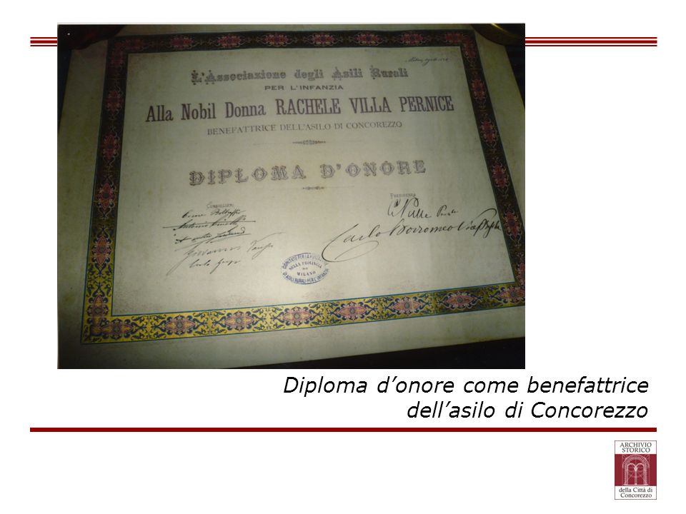 Diploma d'onore come benefattrice
