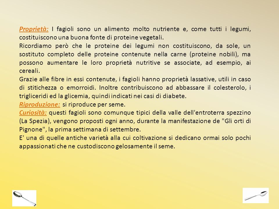 Proprietà: I fagioli sono un alimento molto nutriente e, come tutti i legumi, costituiscono una buona fonte di proteine vegetali.