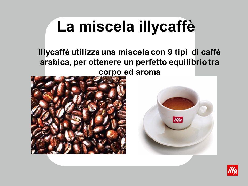La miscela illycaffè Illycaffè utilizza una miscela con 9 tipi di caffè arabica, per ottenere un perfetto equilibrio tra corpo ed aroma.
