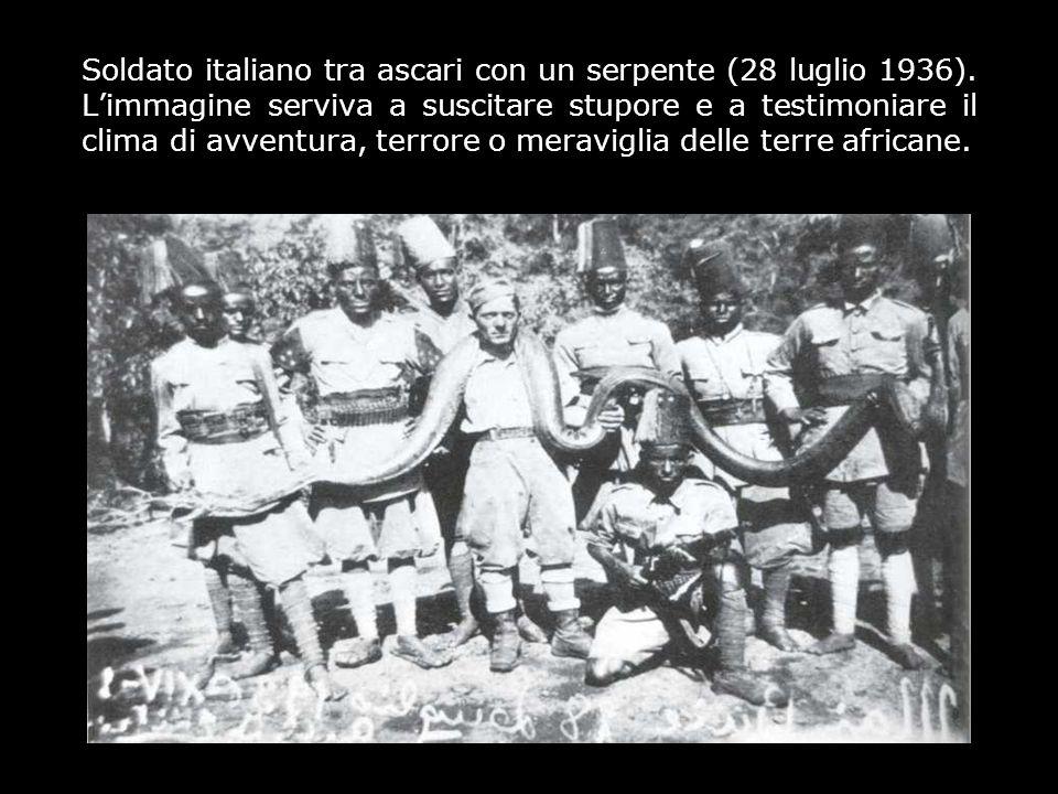 Soldato italiano tra ascari con un serpente (28 luglio 1936)