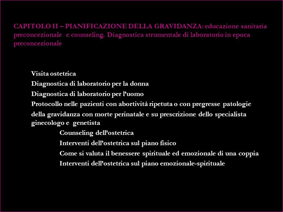 CAPITOLO II – PIANIFICAZIONE DELLA GRAVIDANZA: educazione sanitaria preconcezionale e counseling.
