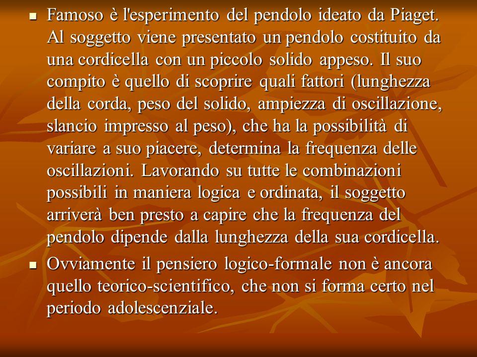 Famoso è l esperimento del pendolo ideato da Piaget