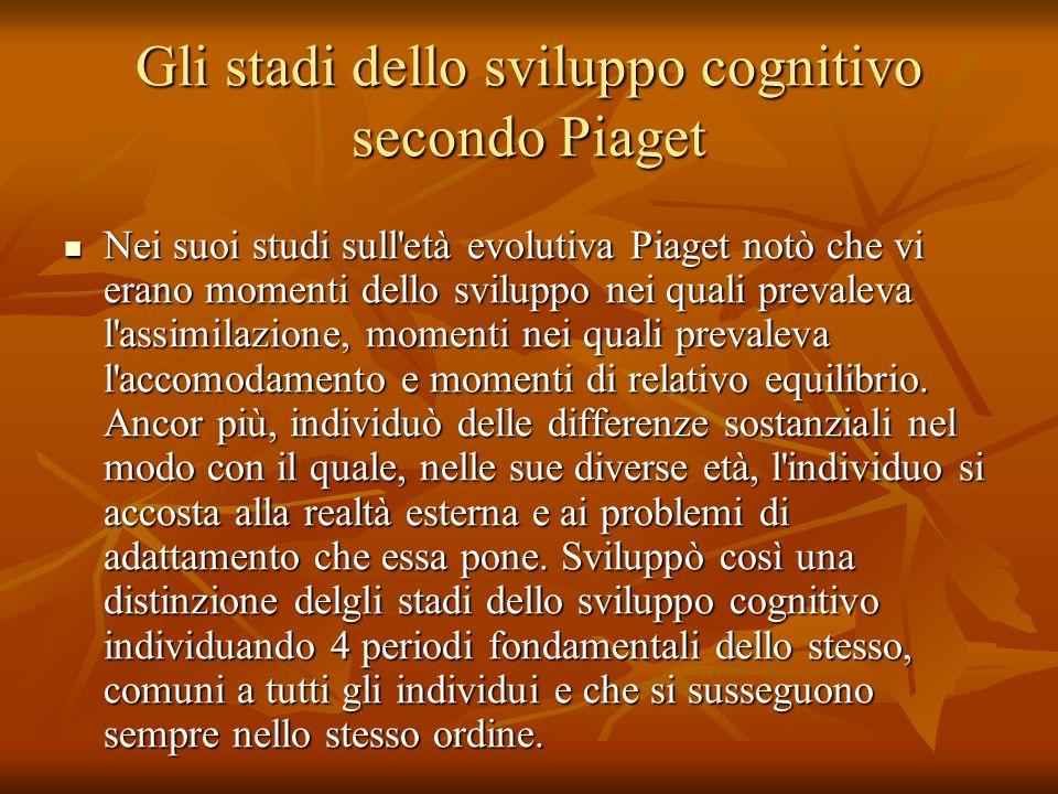 Gli stadi dello sviluppo cognitivo secondo Piaget