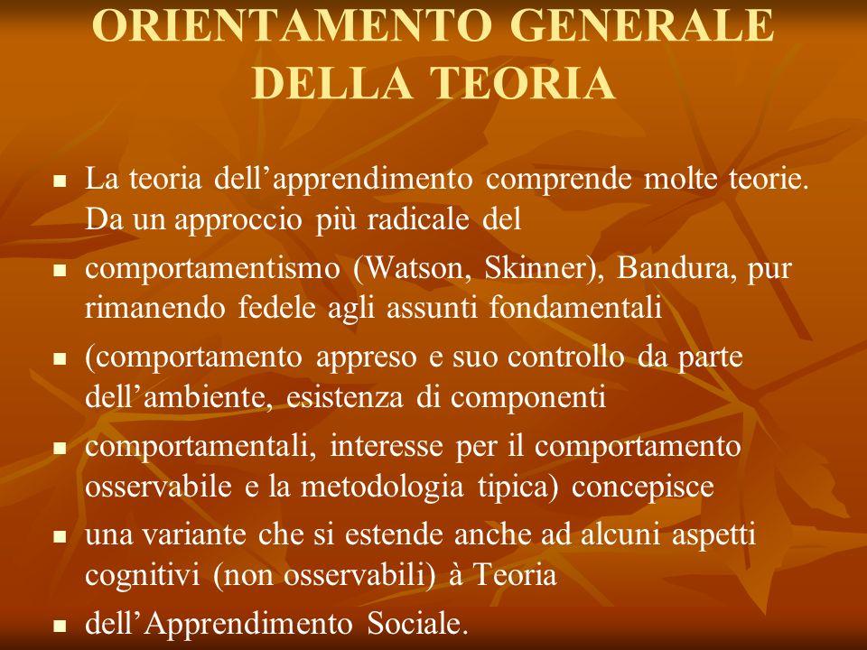 ORIENTAMENTO GENERALE DELLA TEORIA