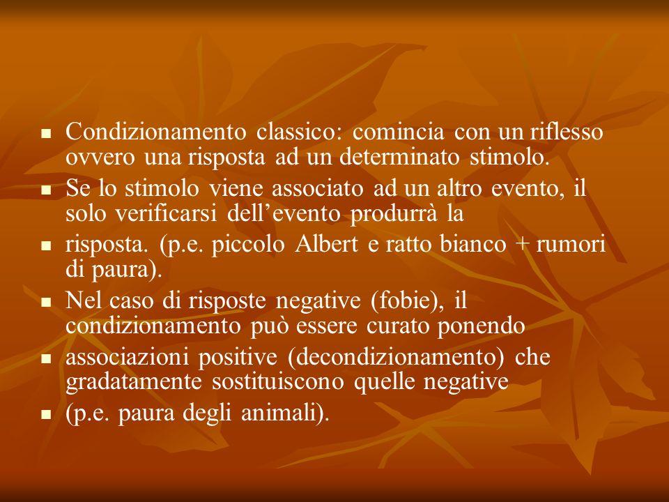 Condizionamento classico: comincia con un riflesso ovvero una risposta ad un determinato stimolo.