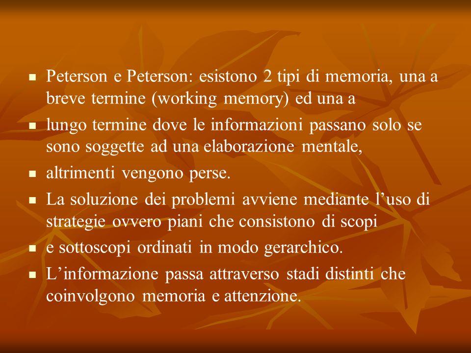 Peterson e Peterson: esistono 2 tipi di memoria, una a breve termine (working memory) ed una a