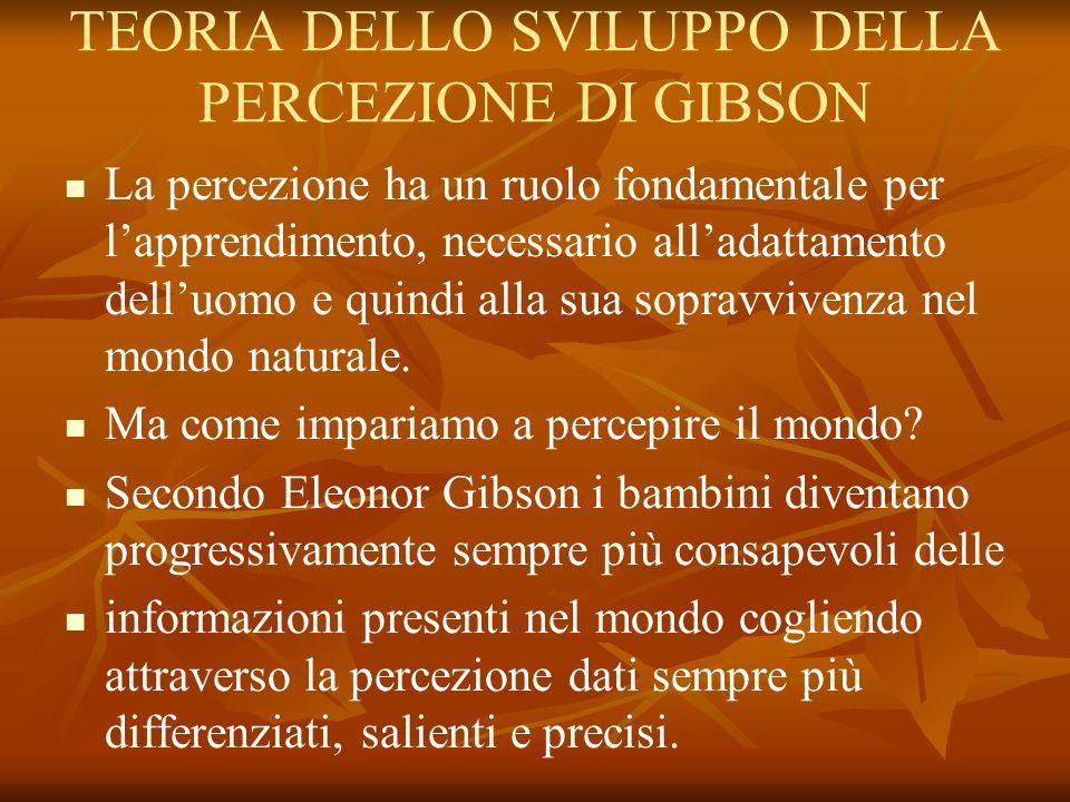 TEORIA DELLO SVILUPPO DELLA PERCEZIONE DI GIBSON