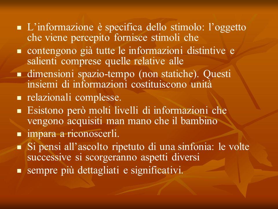 L'informazione è specifica dello stimolo: l'oggetto che viene percepito fornisce stimoli che