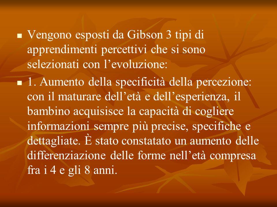 Vengono esposti da Gibson 3 tipi di apprendimenti percettivi che si sono selezionati con l'evoluzione:
