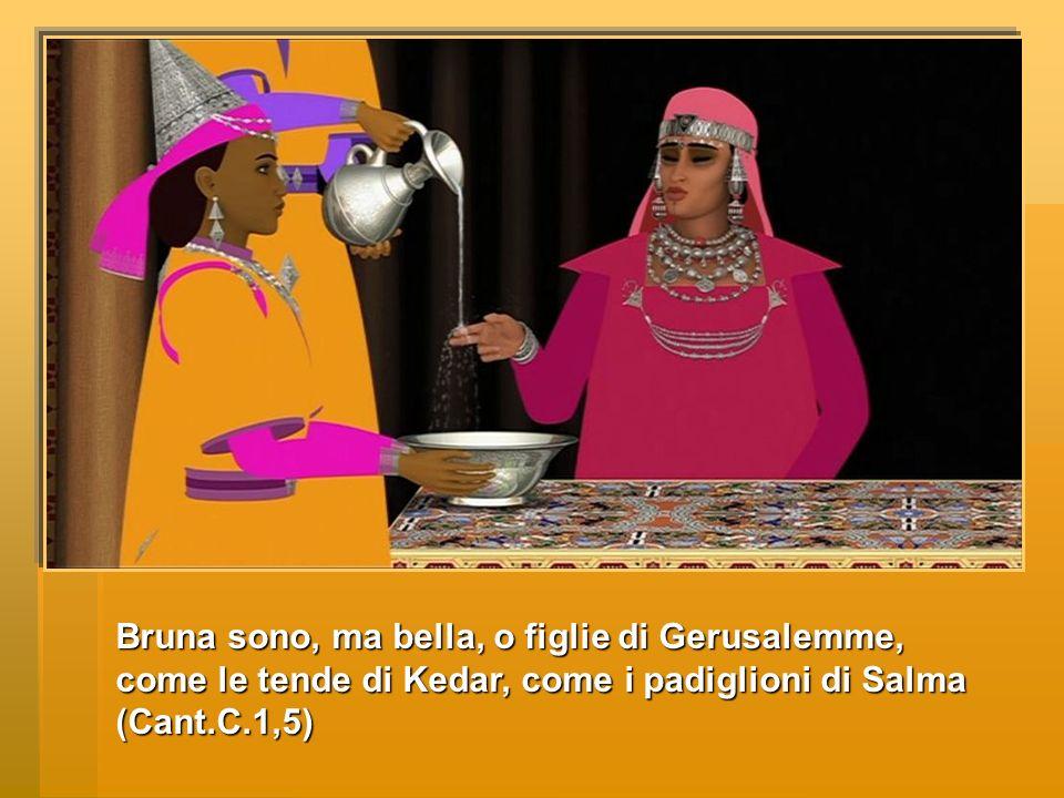 Bruna sono, ma bella, o figlie di Gerusalemme, come le tende di Kedar, come i padiglioni di Salma (Cant.C.1,5)