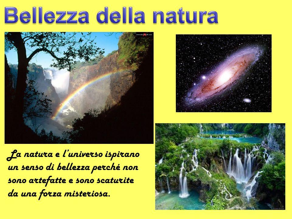 Bellezza della natura La natura e l'universo ispirano un senso di bellezza perché non sono artefatte e sono scaturite da una forza misteriosa.