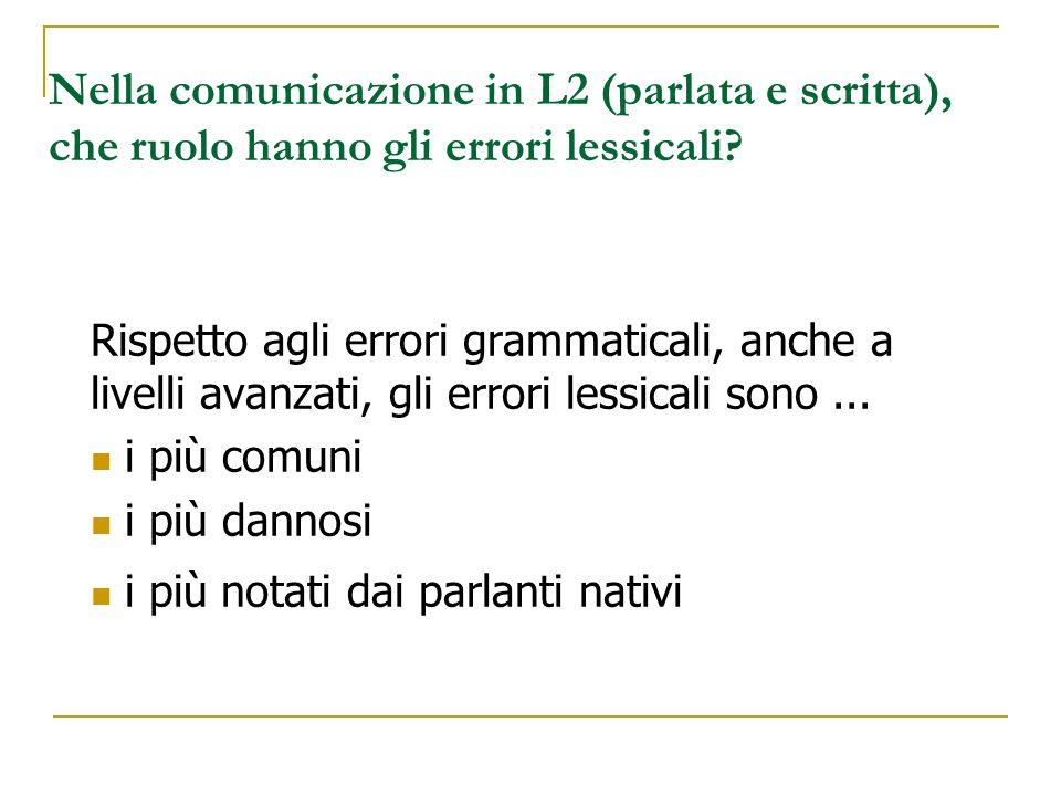 Nella comunicazione in L2 (parlata e scritta), che ruolo hanno gli errori lessicali