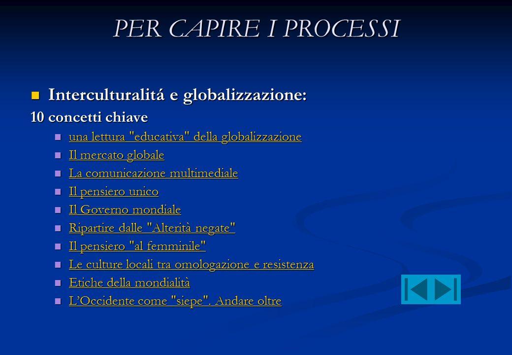 PER CAPIRE I PROCESSI Interculturalitá e globalizzazione: