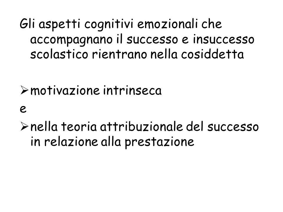 Gli aspetti cognitivi emozionali che accompagnano il successo e insuccesso scolastico rientrano nella cosiddetta