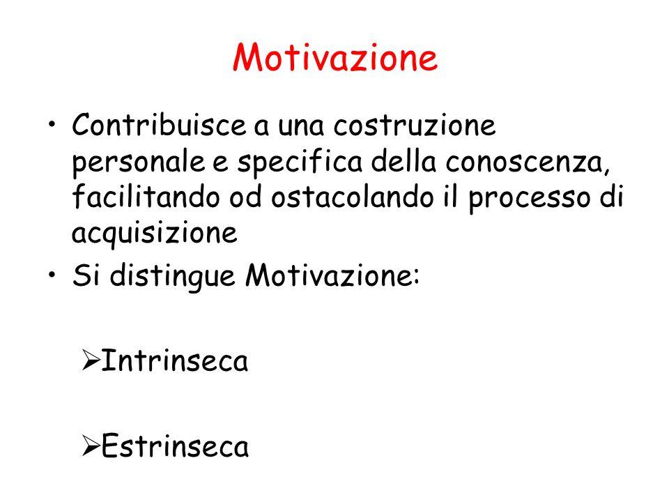 Motivazione Contribuisce a una costruzione personale e specifica della conoscenza, facilitando od ostacolando il processo di acquisizione.