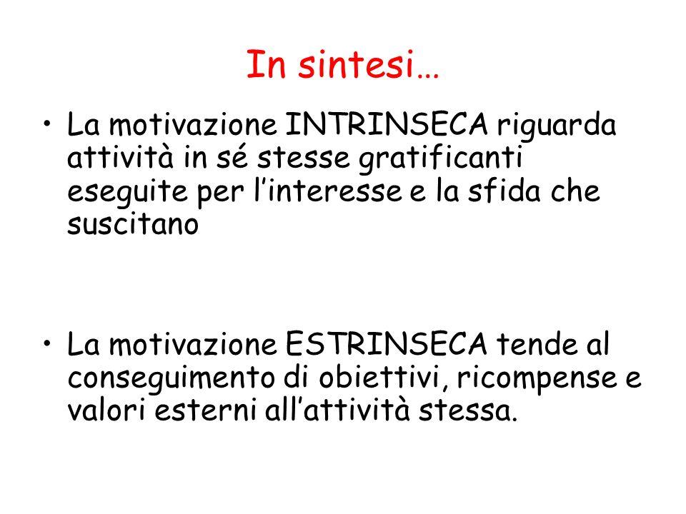 In sintesi… La motivazione INTRINSECA riguarda attività in sé stesse gratificanti eseguite per l'interesse e la sfida che suscitano.