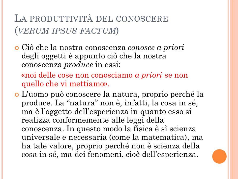 La produttività del conoscere (verum ipsus factum)