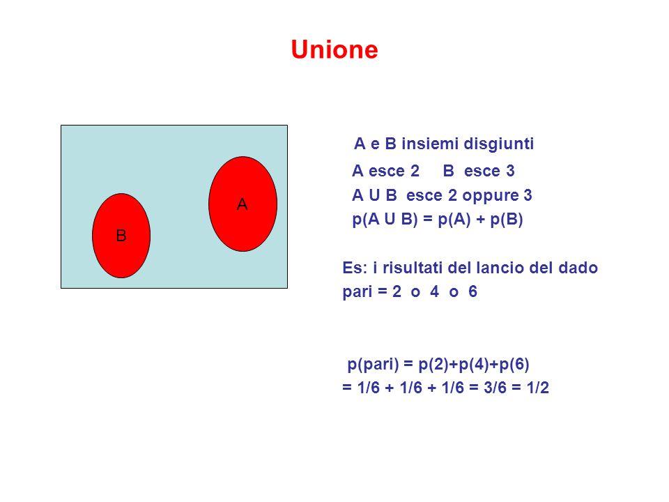 A e B insiemi disgiunti Unione A esce 2 B esce 3 A U B esce 2 oppure 3