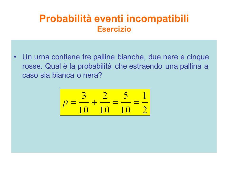 Probabilità eventi incompatibili Esercizio