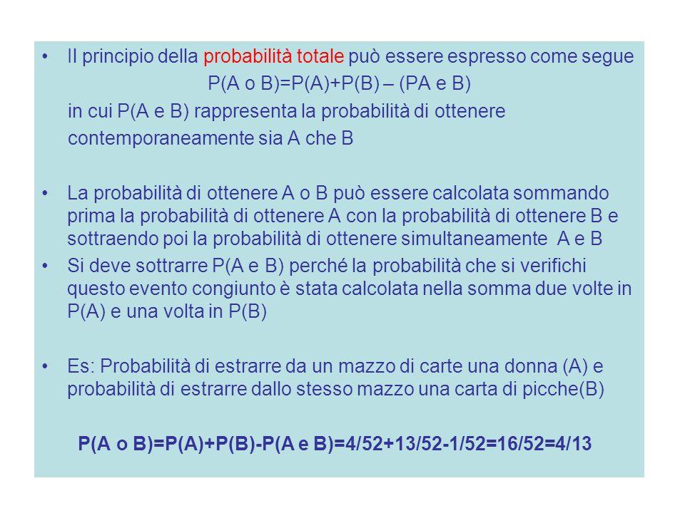 P(A o B)=P(A)+P(B) – (PA e B)