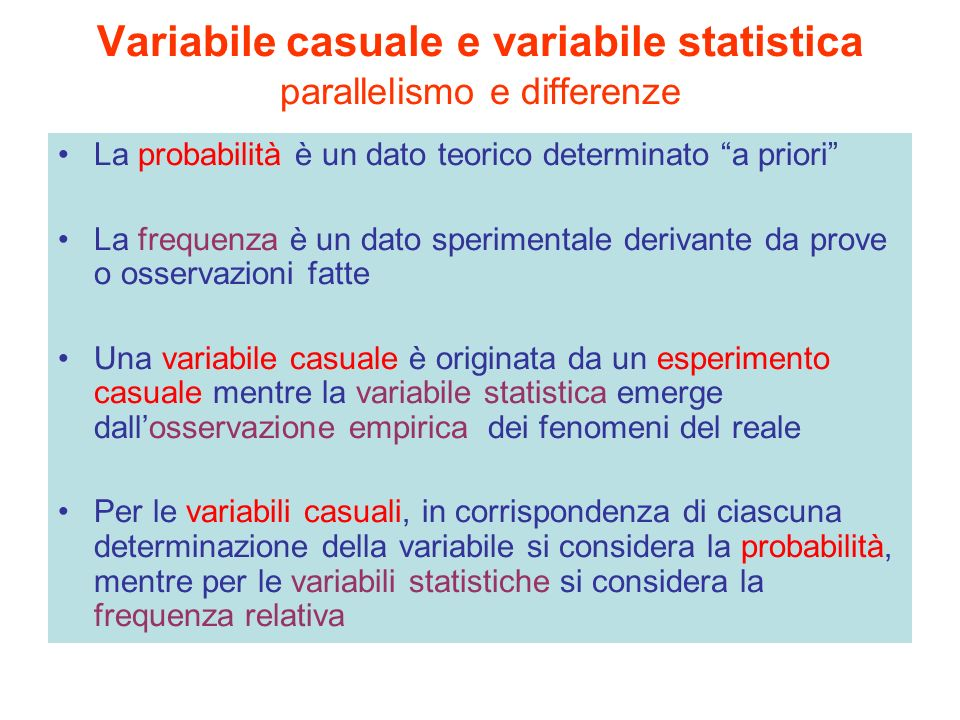 Variabile casuale e variabile statistica parallelismo e differenze