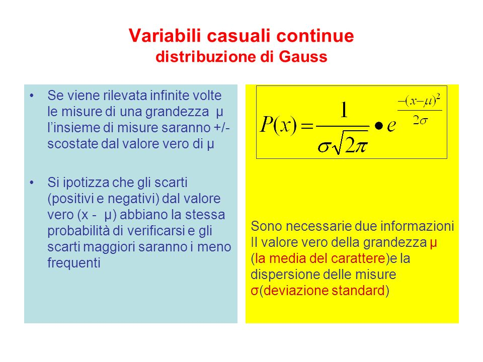 Variabili casuali continue distribuzione di Gauss