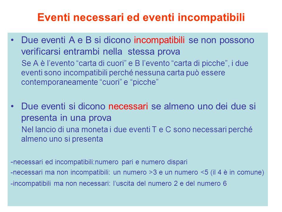 Eventi necessari ed eventi incompatibili