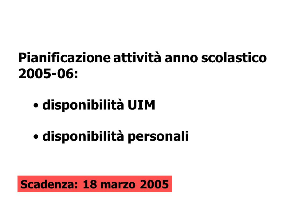 Pianificazione attività anno scolastico 2005-06: