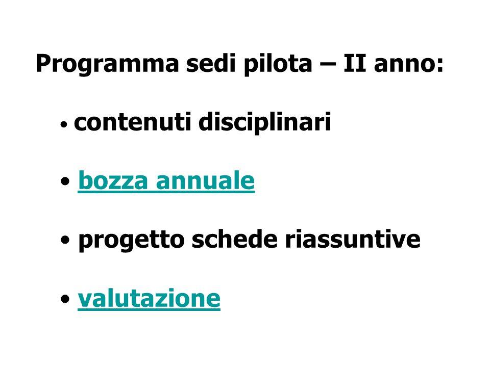 Programma sedi pilota – II anno: