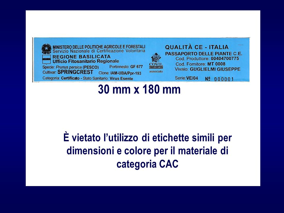 30 mm x 180 mm È vietato l'utilizzo di etichette simili per dimensioni e colore per il materiale di categoria CAC.
