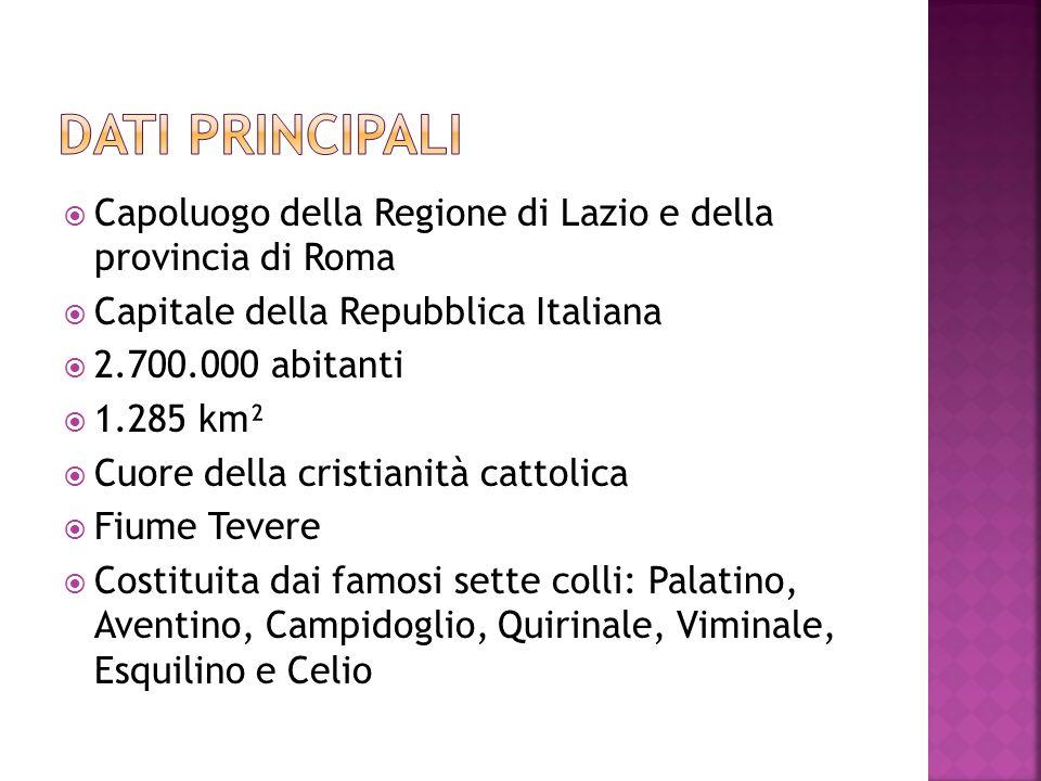 Dati principali Capoluogo della Regione di Lazio e della provincia di Roma. Capitale della Repubblica Italiana.