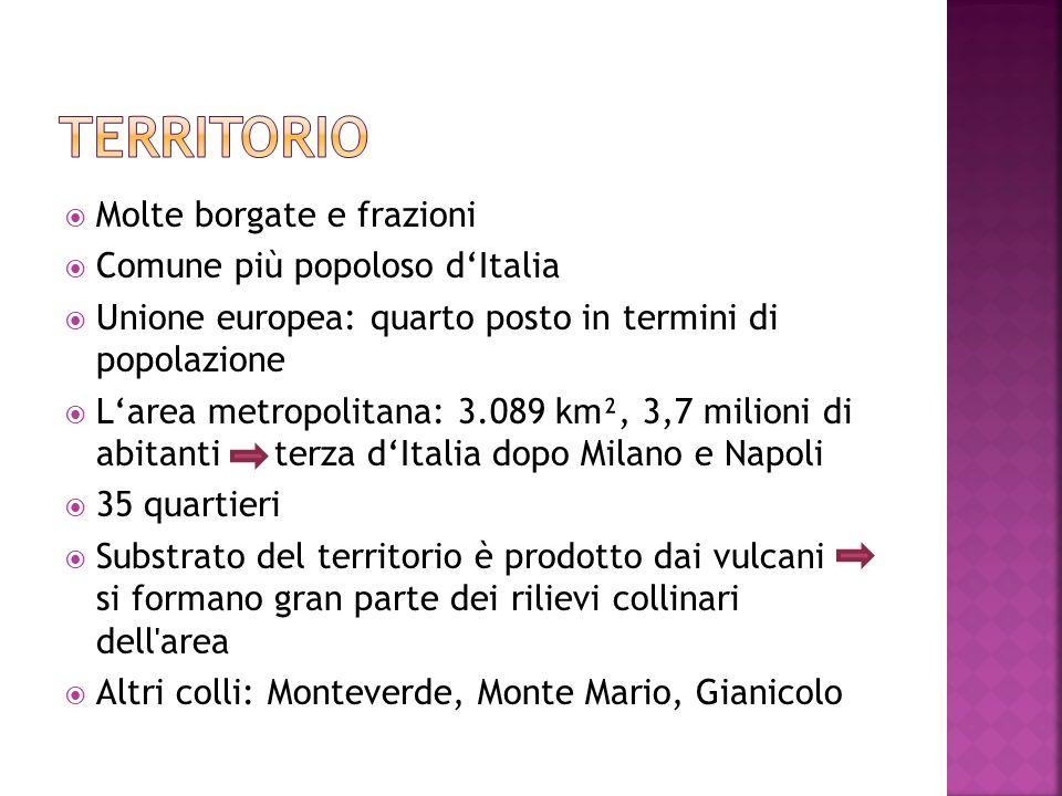 territorio Molte borgate e frazioni Comune più popoloso d'Italia