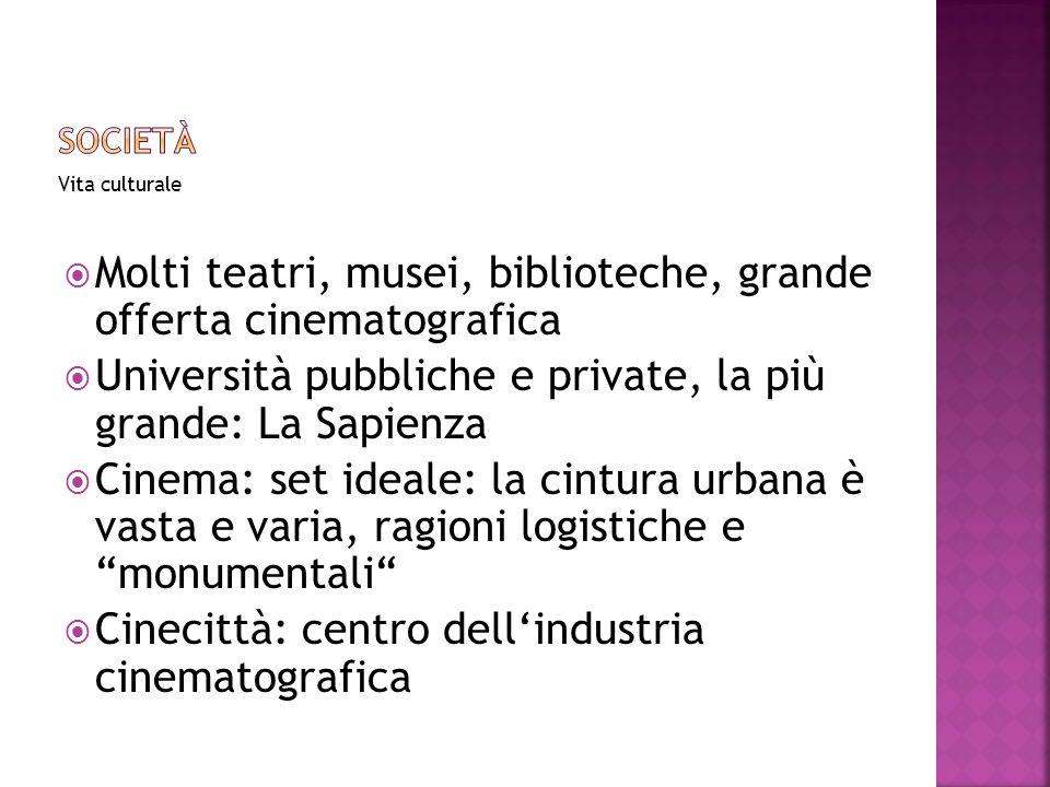 Molti teatri, musei, biblioteche, grande offerta cinematografica