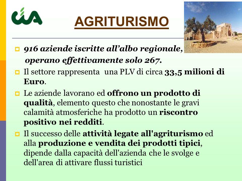 AGRITURISMO 916 aziende iscritte all'albo regionale,