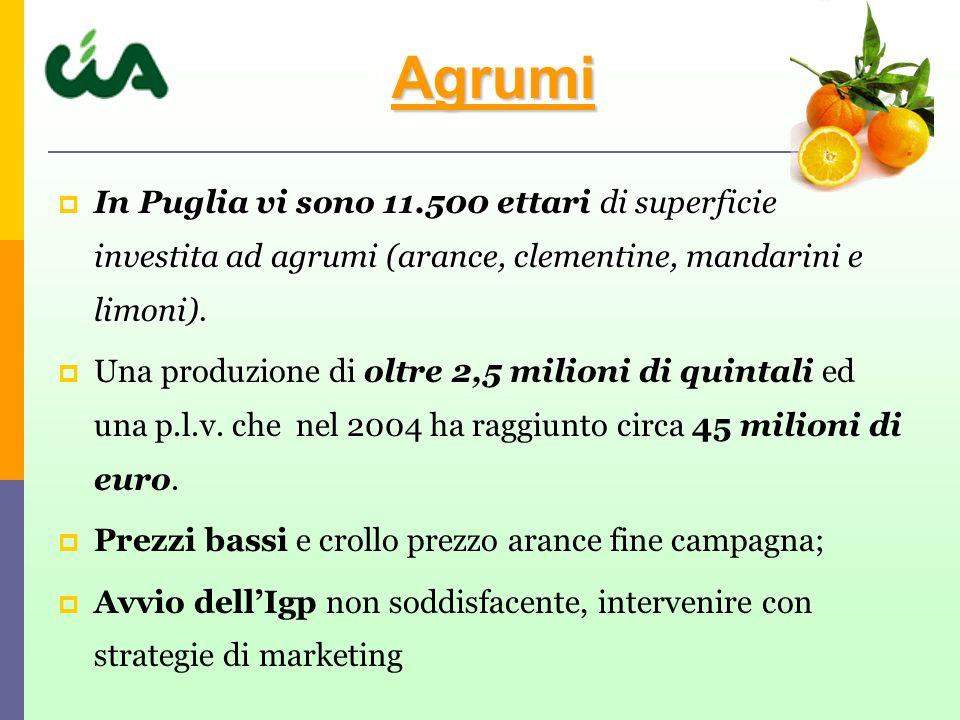 Agrumi In Puglia vi sono 11.500 ettari di superficie investita ad agrumi (arance, clementine, mandarini e limoni).