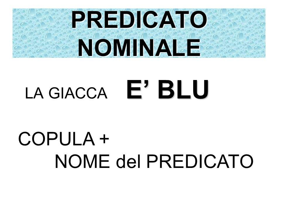 PREDICATO NOMINALE LA GIACCA E' BLU COPULA + NOME del PREDICATO