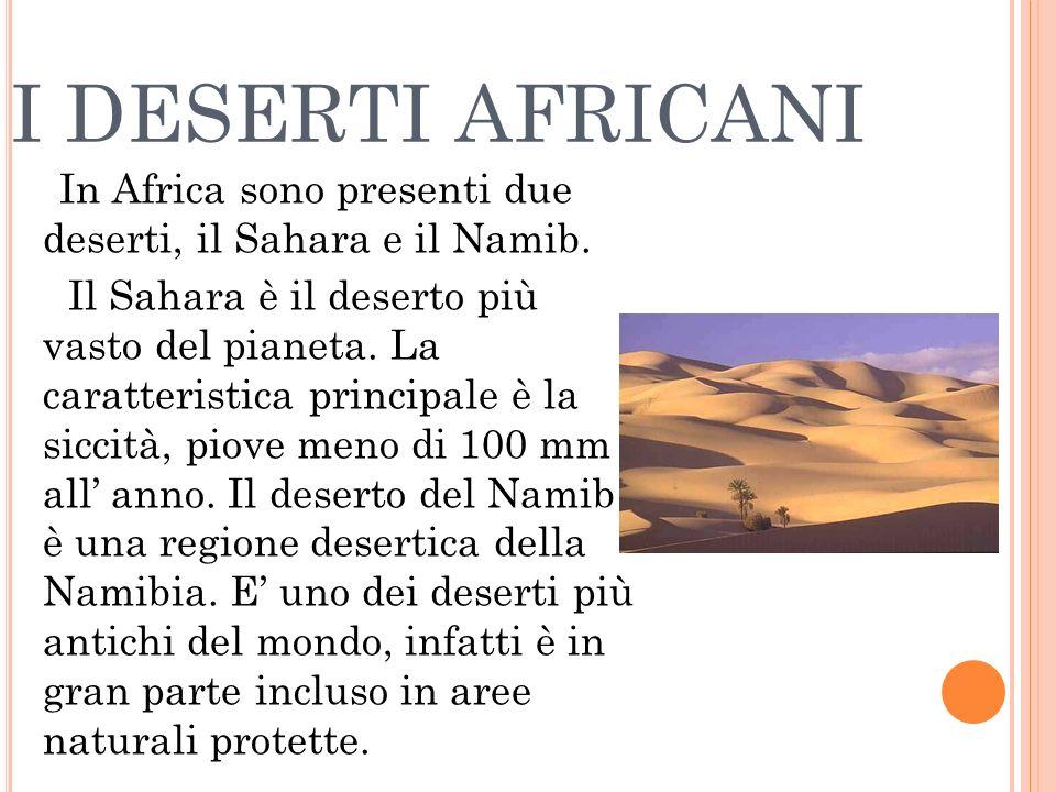 I DESERTI AFRICANI In Africa sono presenti due deserti, il Sahara e il Namib.