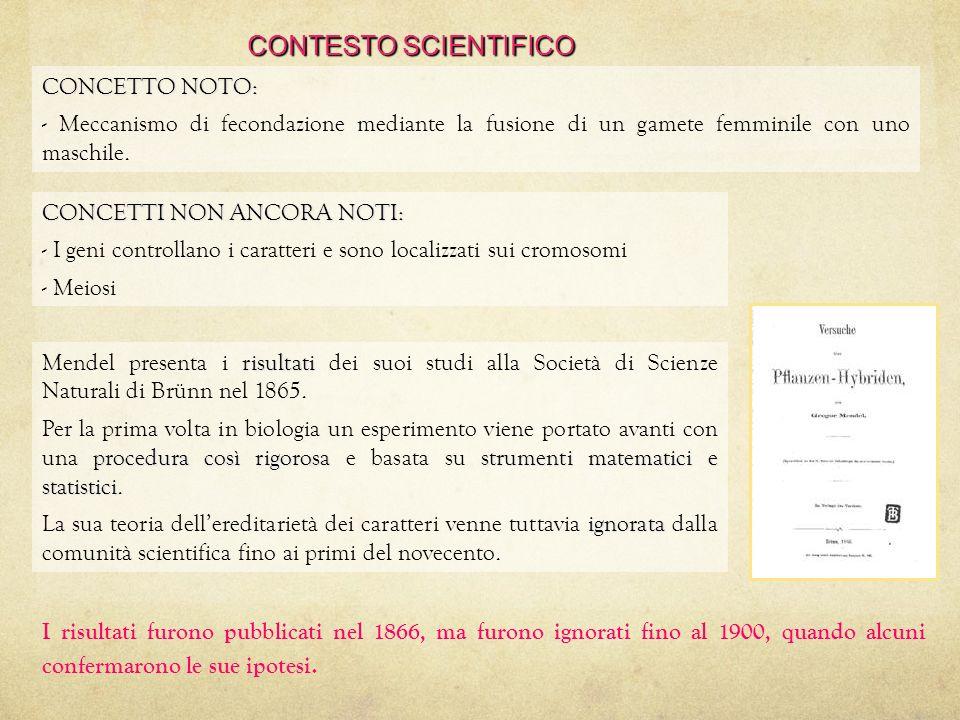 CONTESTO SCIENTIFICO CONCETTO NOTO: