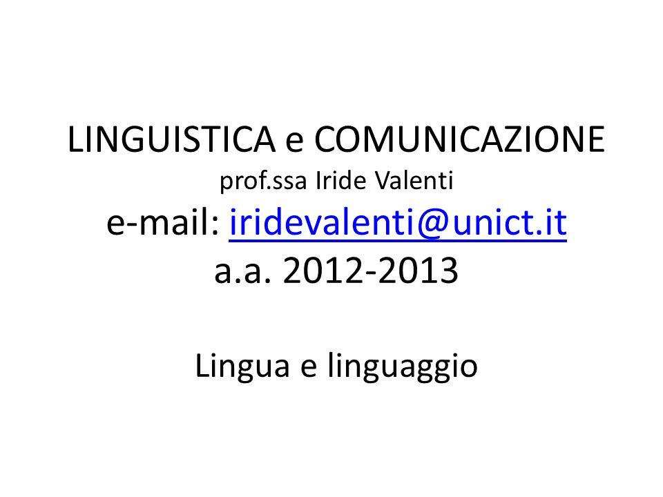 LINGUISTICA e COMUNICAZIONE prof