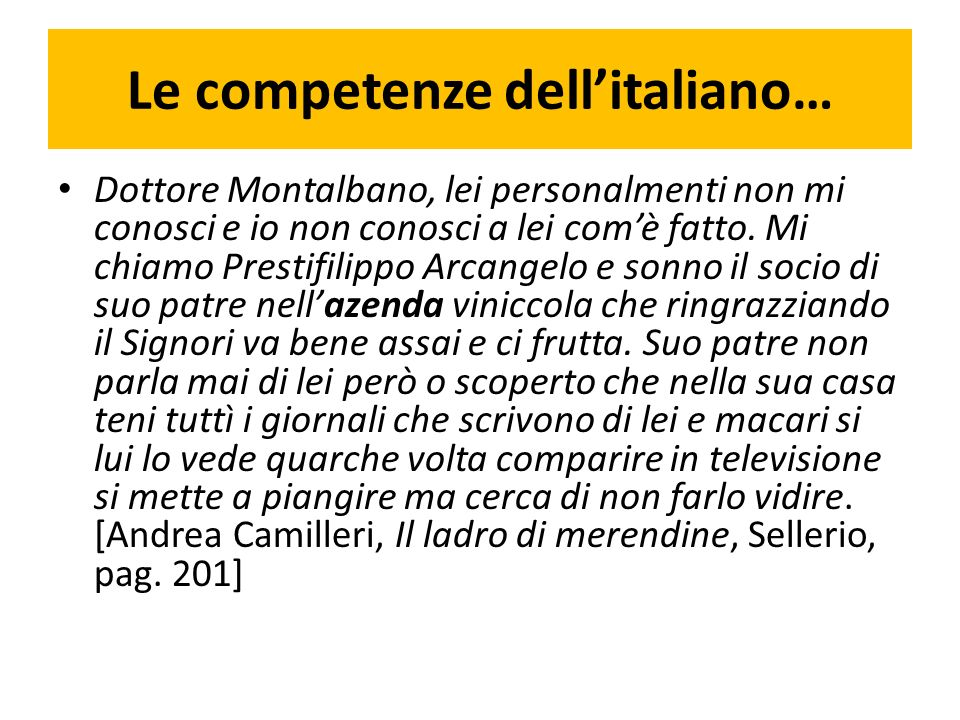 Le competenze dell'italiano…