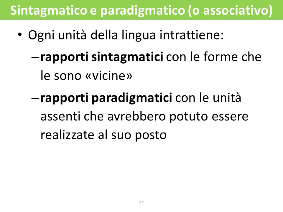 Sintagmatico e paradigmatico (o associativo)
