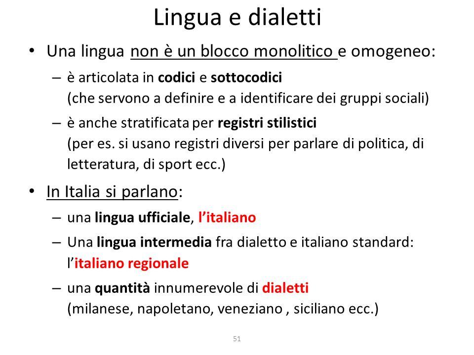Lingua e dialetti Una lingua non è un blocco monolitico e omogeneo: